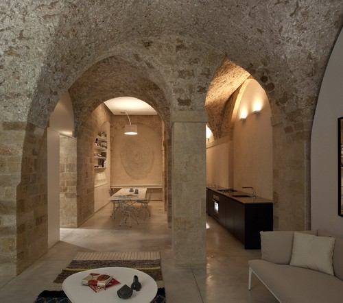 What Material Is Used For Interior Walls Especially The Arches And Stone  Walls?