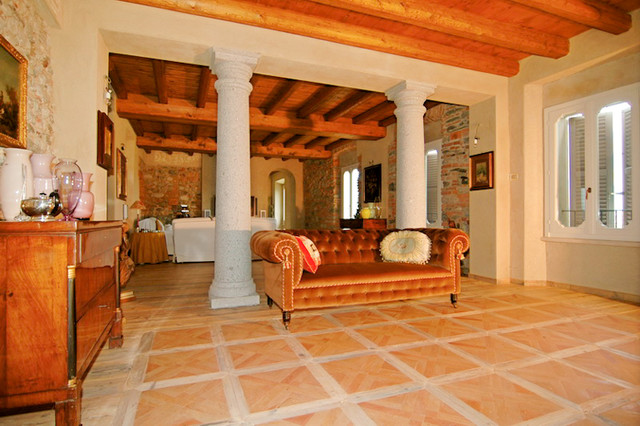 Terracotta Floors Mediterranean Living Room San