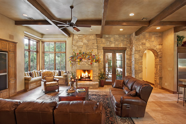 Texas hill country style rustic living room austin - Decorating living room country style ...