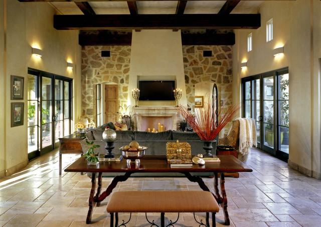 Living room - mediterranean living room idea in Austin