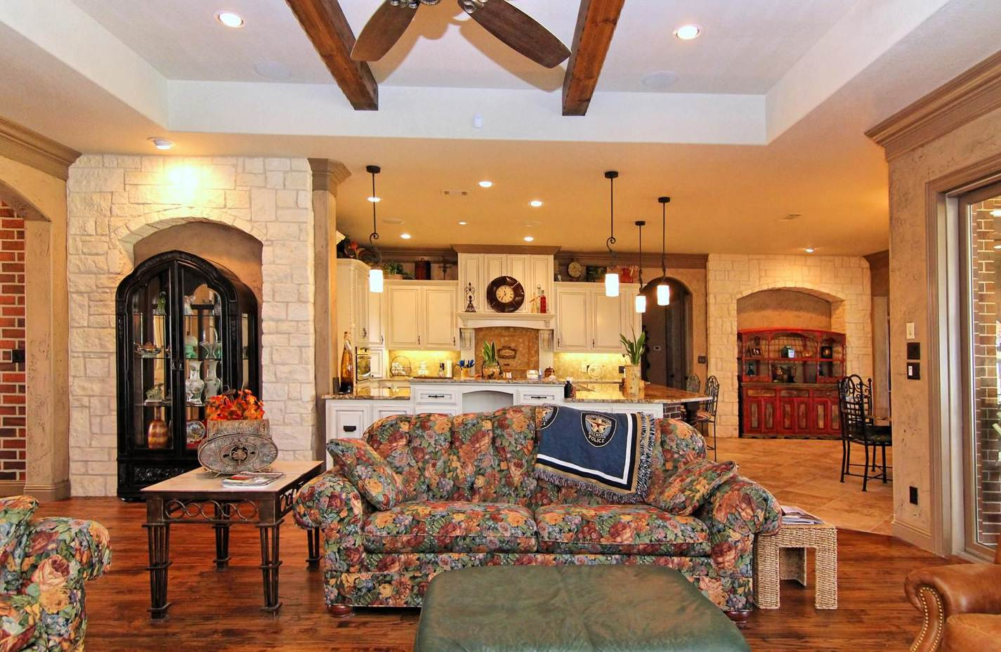 Texas Tudor - living room/kitchen