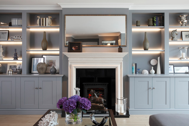 Thames Ditton Lounge Fireplace Display Cabinets Transitional