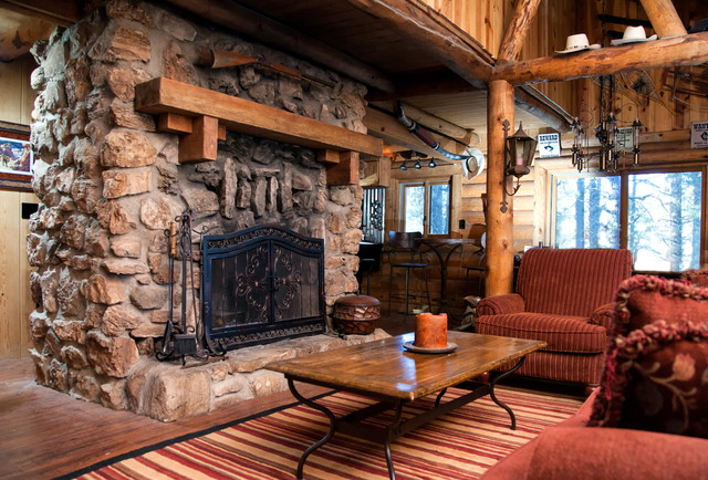 Inspiration for a rustic living room remodel in Phoenix