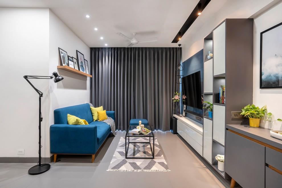 Inspiration for a scandinavian living room remodel in Mumbai