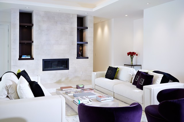 Mid-sized trendy formal and enclosed travertine floor and beige floor living room photo in Tampa with white walls, no tv, a ribbon fireplace and a stone fireplace
