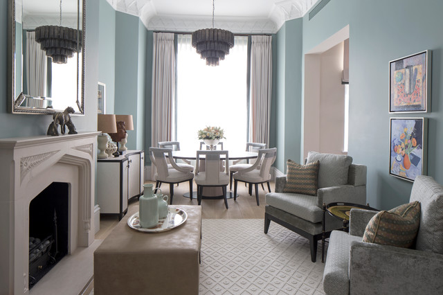 Inspiration For A Transitional Light Wood Floor Living Room Remodel In London With Blue Walls And