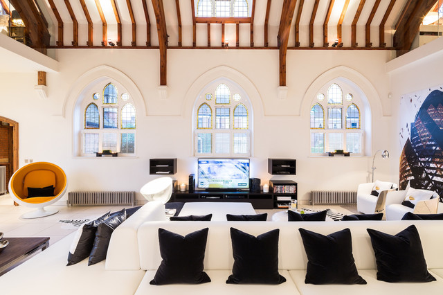 the church conversion contemporary living room london