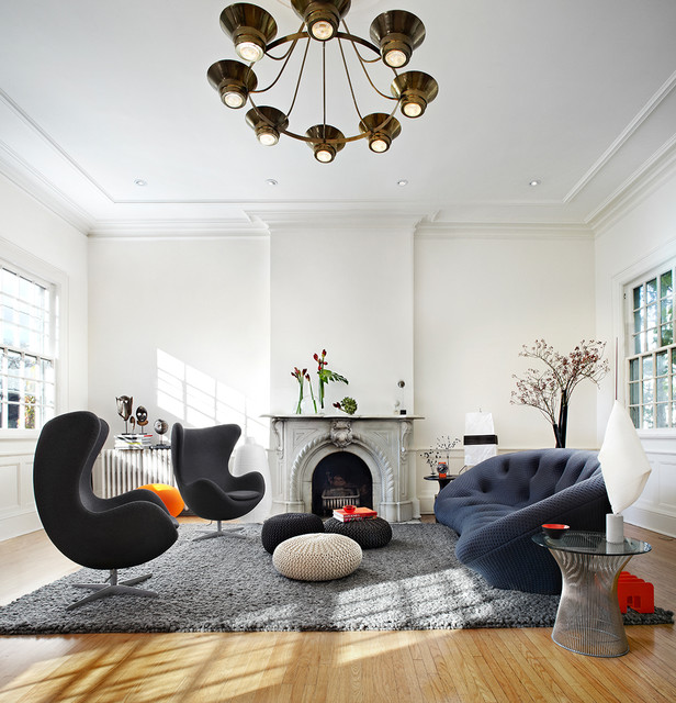 Living Room   Large Contemporary Living Room Idea In Dallas With White  Walls, A Standard