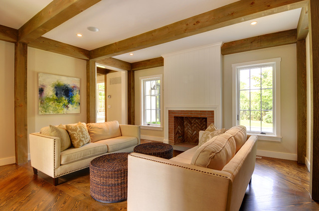 The East Hampton Post and Beam Cottage traditional-living-room