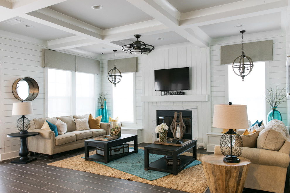 Inspiration for a mid-sized coastal open concept ceramic tile living room remodel in Jacksonville with a bar, white walls, a standard fireplace and a wall-mounted tv