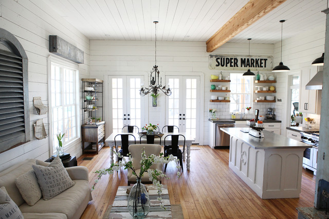 Example Of A Mid Sized Cottage Chic Open Concept Medium Tone Wood Floor Living  Room