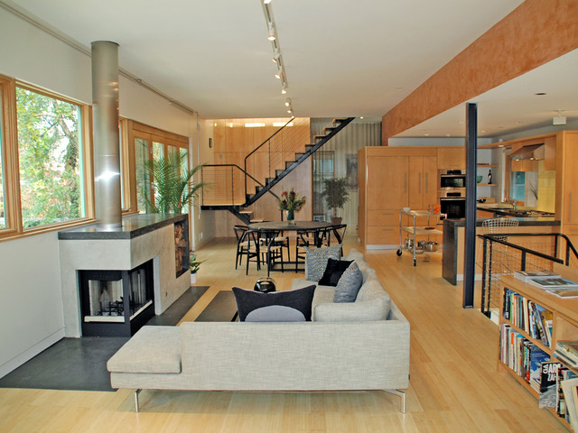 Example Of A Mid Sized Trendy Open Concept Light Wood Floor Living Room  Design In