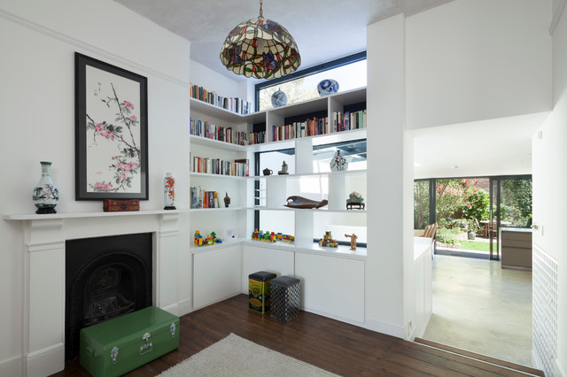 Wonderful Eclectic Open Concept Dark Wood Floor Living Room Library Idea In London  With White Walls And Part 25