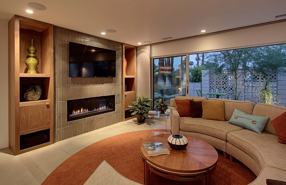 Living room - large 1960s open concept concrete floor living room idea in Other with white walls and a ribbon fireplace