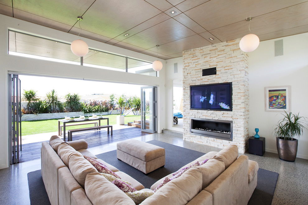 Living room - modern living room idea in Hamilton with a ribbon fireplace and a wall-mounted tv