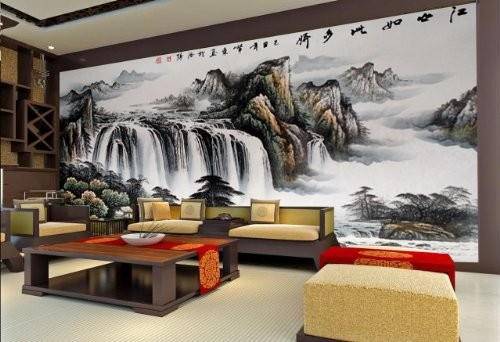 Living Room Wall Murals the land is so rich in beauty chinese style wall mural, 8-feet 1