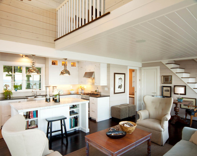 Small Beach Style Open Concept And Formal Dark Wood Floor Brown Living Room Idea