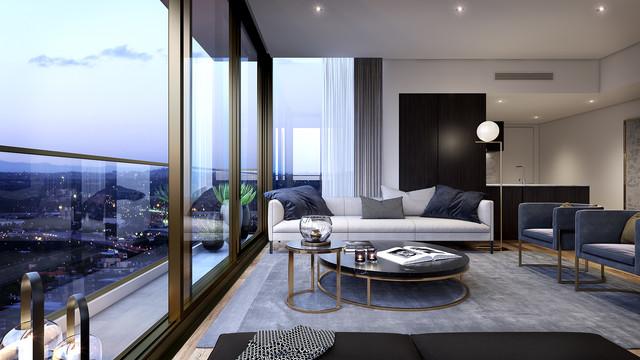 The Lennox, Parramatta (JPW Architects) コンテンポラリー-リビング居間