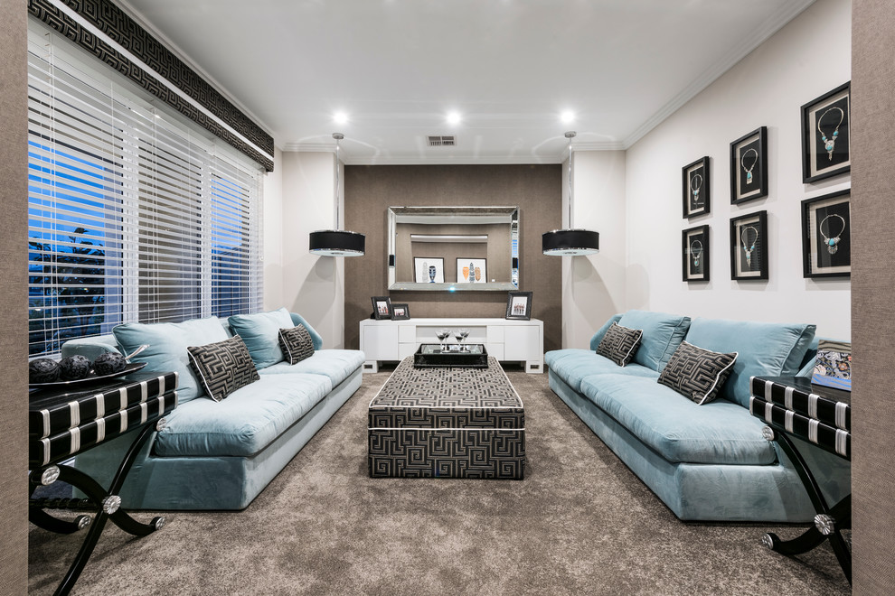 Example of a trendy formal carpeted living room design in Perth with beige walls and no tv