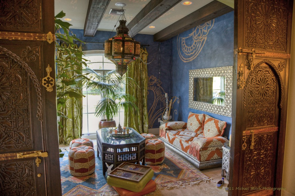Inspiration for a mediterranean living room remodel in Tampa
