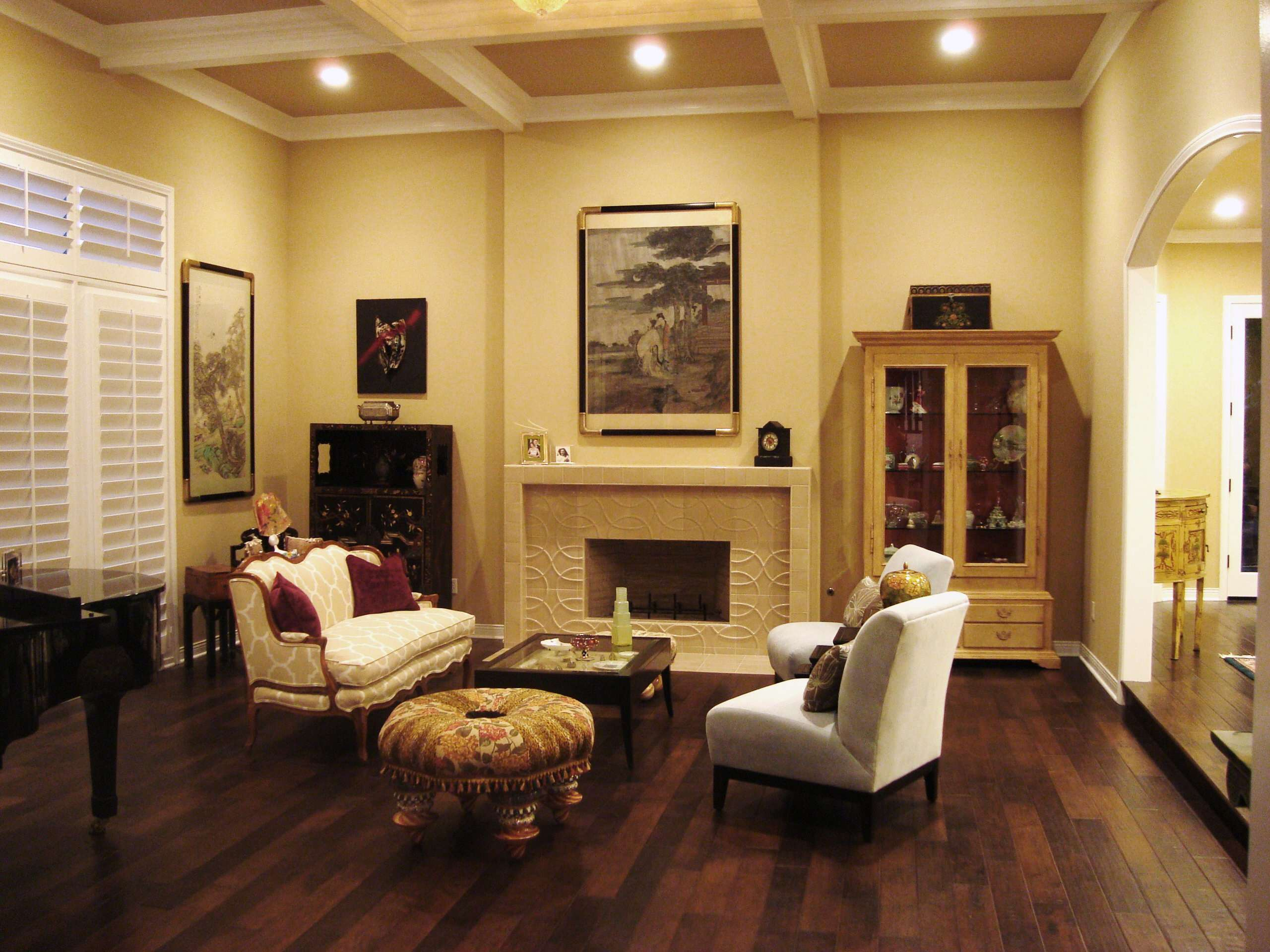 The New Nolan Living Room- beautiful tile Fireplace and Baby Grand Piano