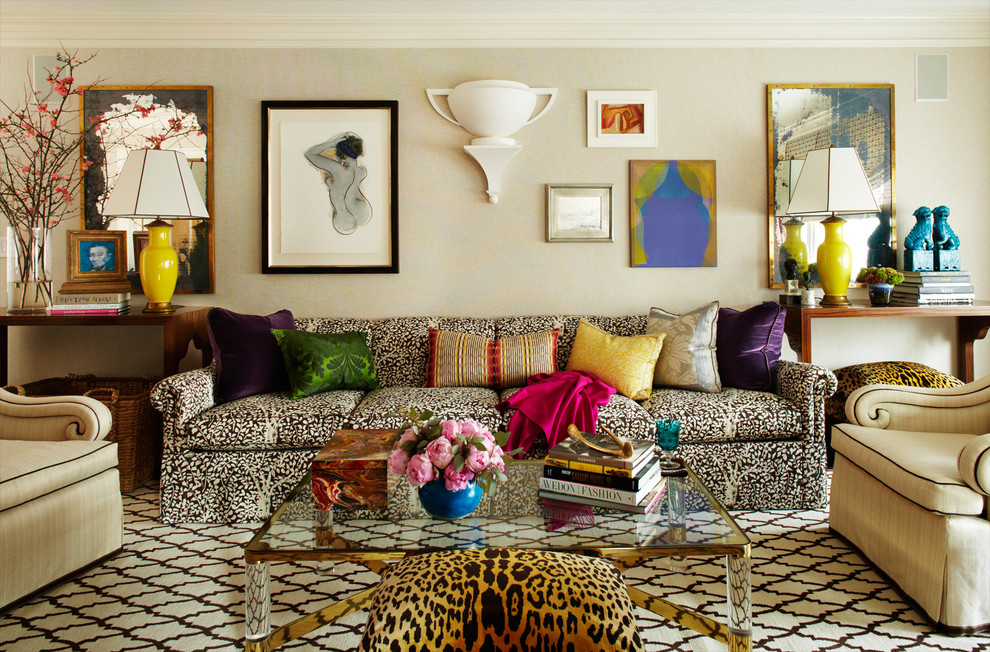 Inspiration for a mid-sized eclectic carpeted living room remodel in New York with beige walls