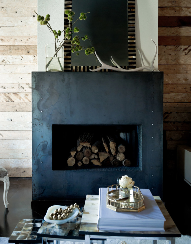Living room - eclectic living room idea in Dallas with a standard fireplace