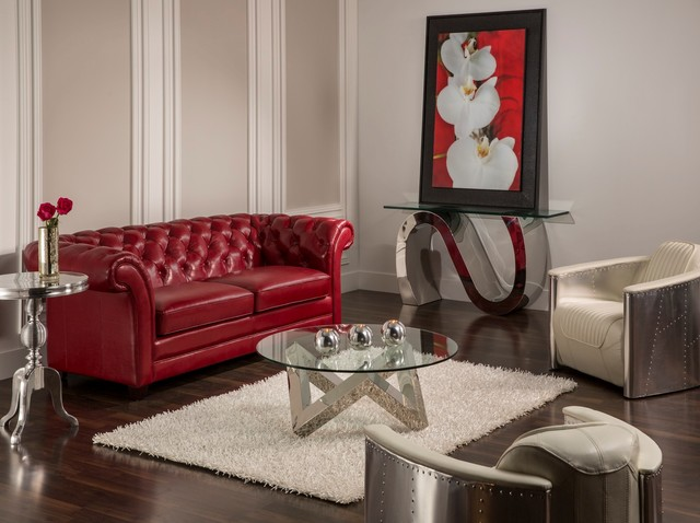 The Olivia Sofa Meets Aviation Chairs Contemporary Living Room
