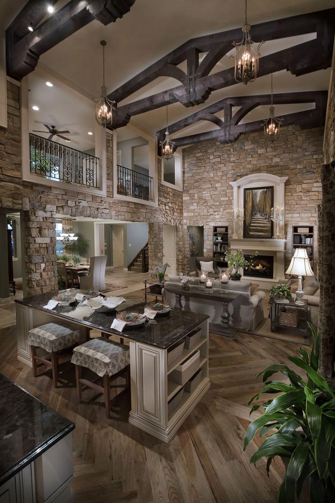 Tuscan living room photo in Denver
