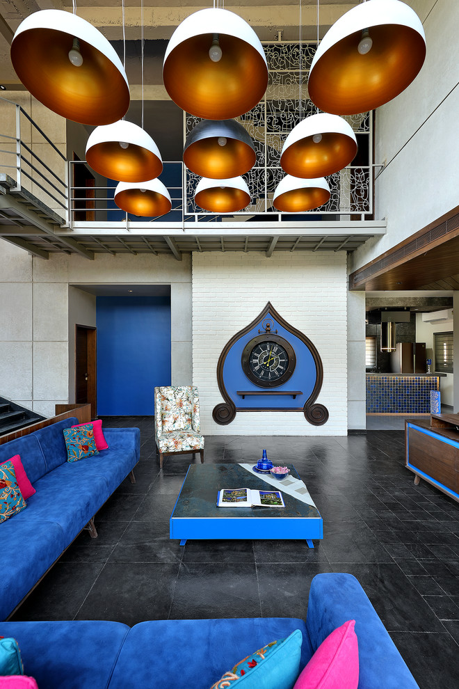 Inspiration for a zen formal and open concept black floor living room remodel in Ahmedabad with white walls