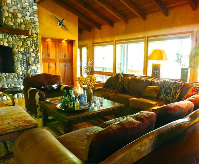 the ponderosa lodge project southwestern living room