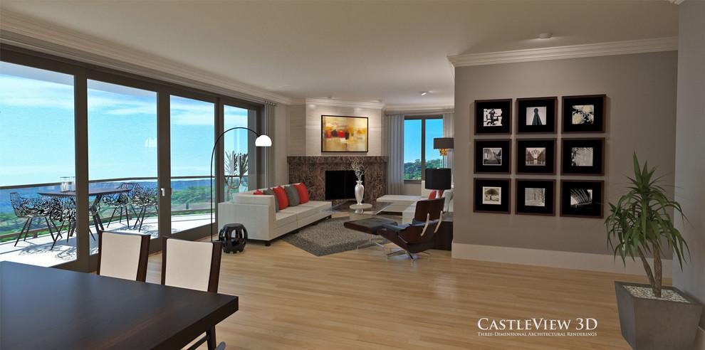 Foto de salón abierto, moderno, de tamaño medio, con paredes marrones, suelo de madera clara, chimenea de esquina y marco de chimenea de piedra