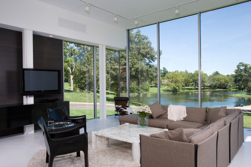 Inspiration for a modern living room remodel in Kansas City with white walls and a wall-mounted tv