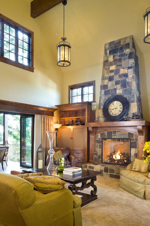 Award winning fireplace design inside this European Manor home by Alan Mascord Design Associates