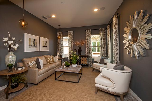 Immagine di un soggiorno contemporaneo con pareti grigie, nessun camino e nessuna TV