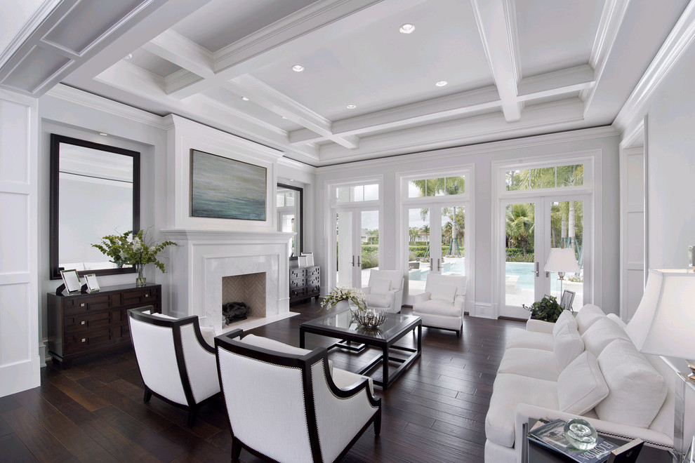 Living room - transitional living room idea in Miami with white walls