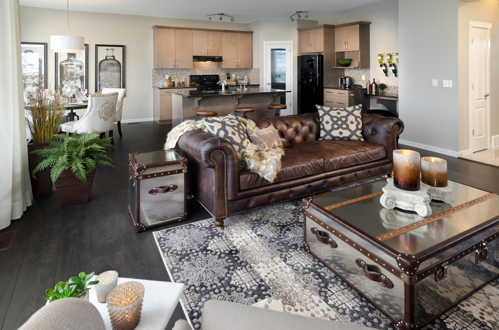 Inspiration for a contemporary living room remodel in Calgary
