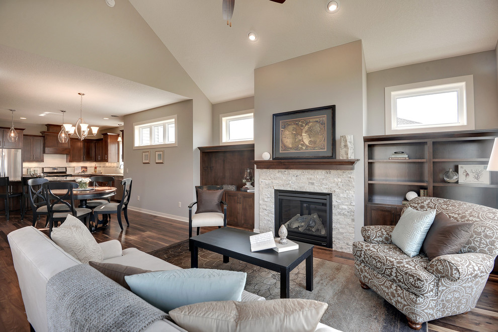 Transitional living room photo in Minneapolis with gray walls