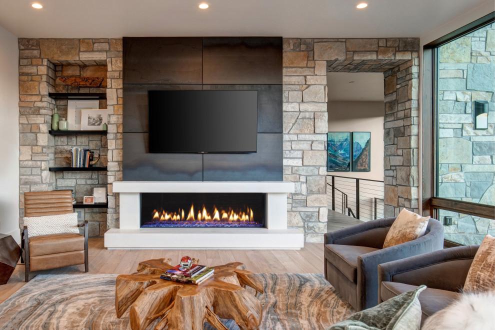 Living room - contemporary living room idea in Salt Lake City