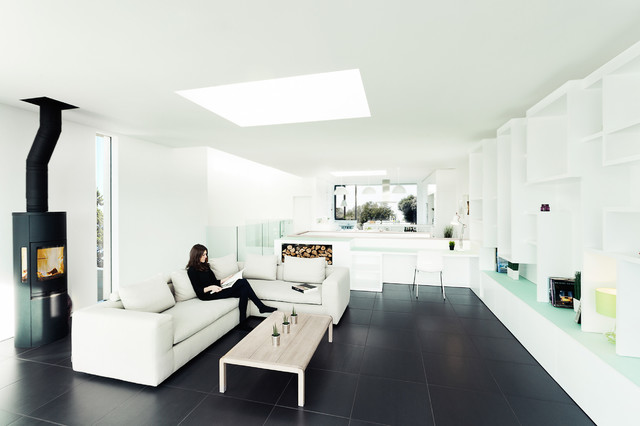 Contemporary Open Concept Black Floor Living Room Idea In Hampshire With  White Walls And A Wood Part 77