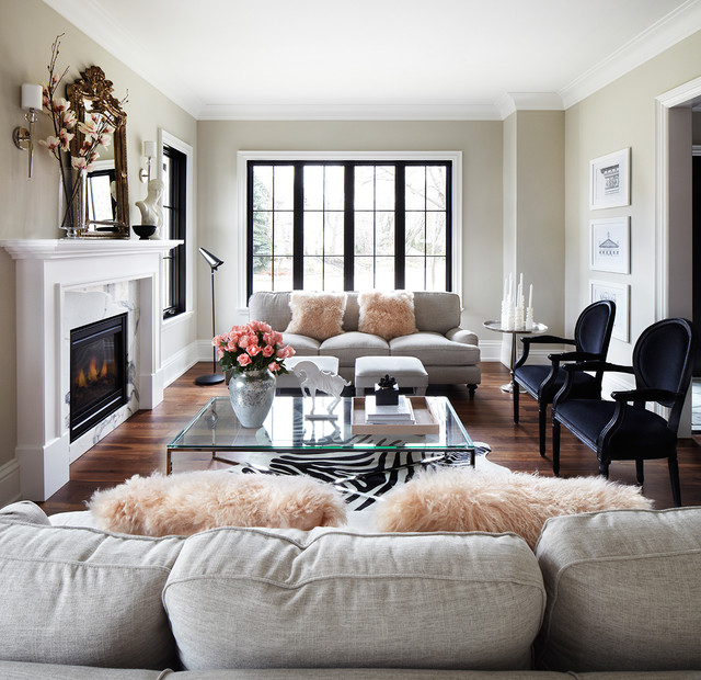 transitional living room toronto by