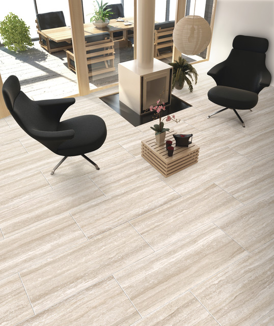 Thermae By Savoia Modern Travertine Stone Look Tile Contemporary Living Room