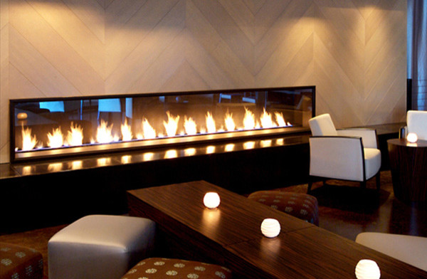 Thin fire walls contemporary living room