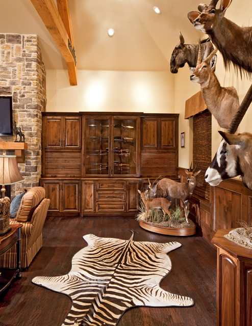This Trophy Room is a real man cave! - Traditional ...