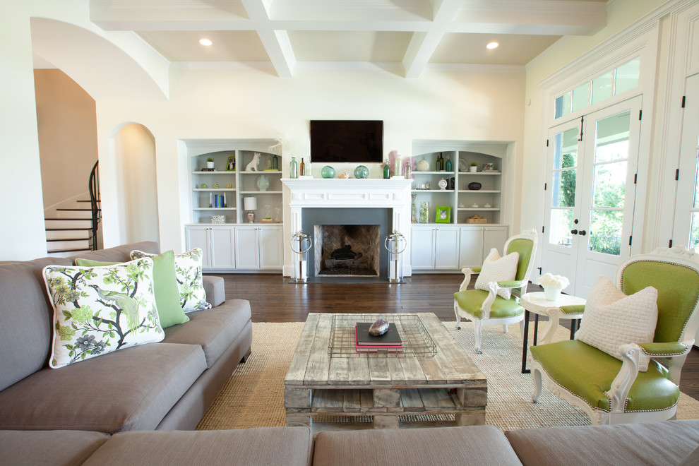 Living room - large shabby-chic style living room idea in Houston with a standard fireplace and a wall-mounted tv