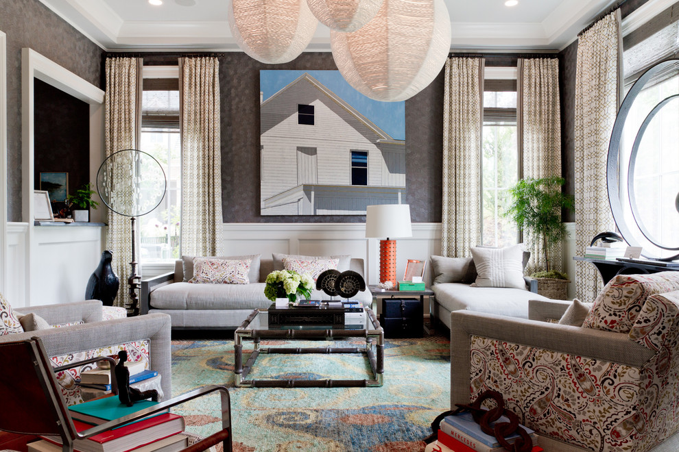 Living room - large contemporary living room idea in New York with gray walls