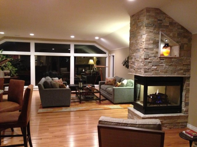 Three Sided Fireplace Transitional Living Room