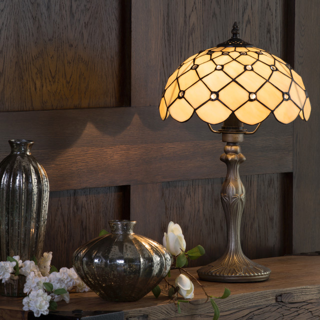 Tiffany Jewel 12 Inch Table Lamp With Honey Shade Antique Brass