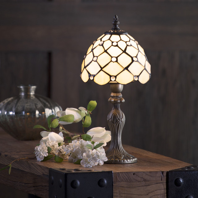 Tiffany Jewel 8 Inch Table Lamp With Honey Shade Antique Brass