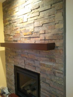 Tile Fireplace Contemporary Indoor Fireplaces